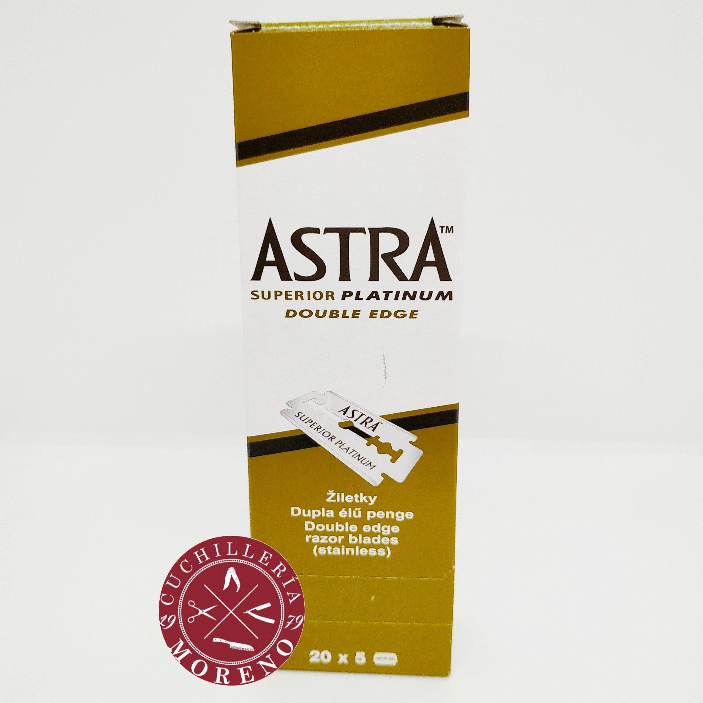 Cuchillas de Afeitar Doble Filo Astra Superior Platinum Verdes 100 unidades